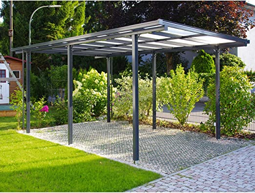 Beckmann - Porche para coche (aluminio, 311 x 496 x 218 cm), einbrennlackiert Anthrazit: Amazon.es: Jardín