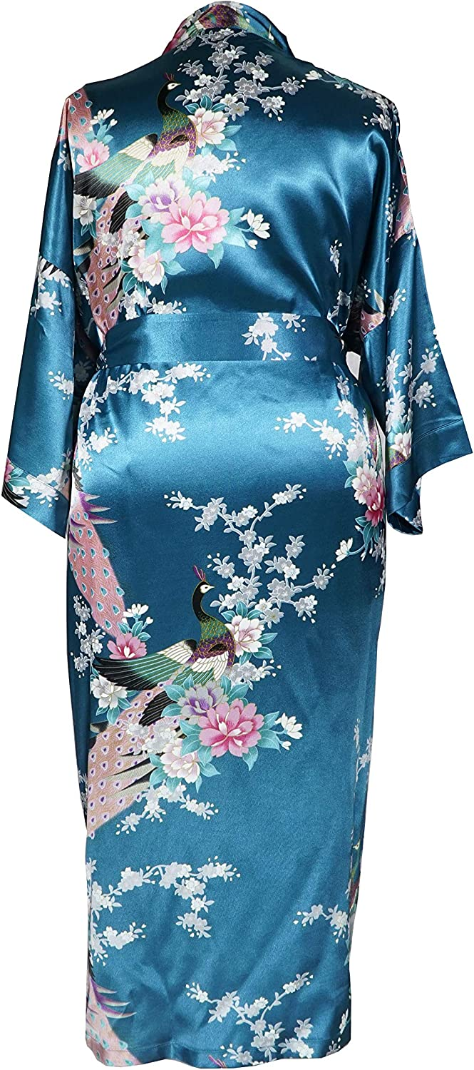 Plus Size Womens Kimono Long Robe Applesauce 838 US One-Size fits most 1X 2X 3X Peacock and Blossom
