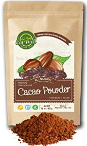 Eat Well Premium Foods - Cacao Powder 32 oz (2 lb) Bag, Dark Cacao Powder, Dutch-Process Cocoa Powder, Unsweetened Cocoa, Baking Cocoa Powder, % 100 Natural
