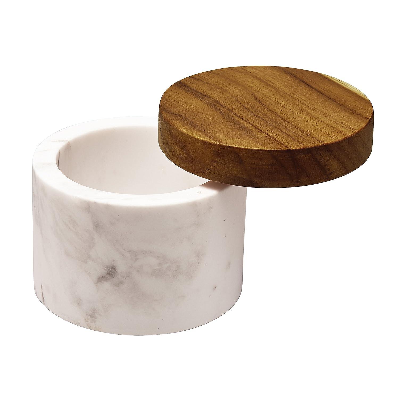 Anolon Pantryware White Marble Salt Cellar with Teak Wood Lid 5.25-Ounce Capacity