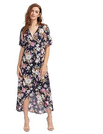 2800f1798ed39 Image Unavailable. Image not available for. Color  Milumia Women s Boho  Deep V Neck Floral Chiffon Wrap Split Long Dress ...