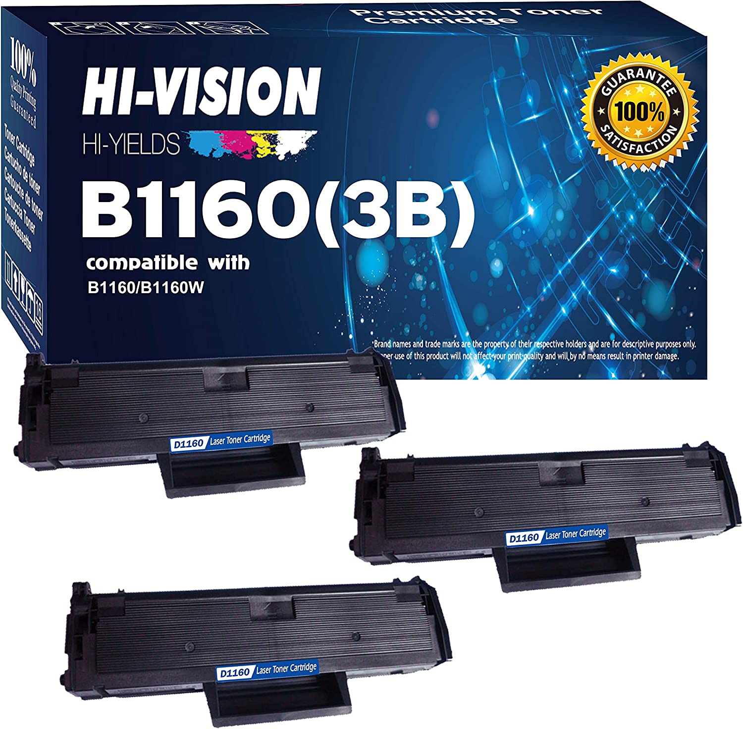 HI-VISION HI-YIELDS Compatible B1160 1160 331-7335 (YK1PM, HF442) 3 Pack Black Toner Cartridge Replacement for Dell B1160,B1160W,B1163W,B1165nfw