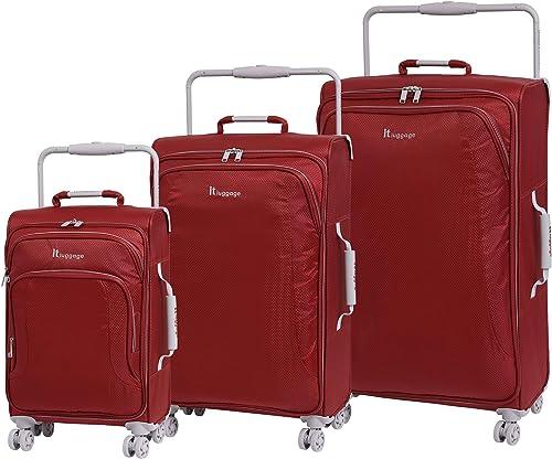 IT Luggage World s Lightest 8 Wheel 3 Piece Set, Bossa Nova With Vapor Blue Trim, One Size