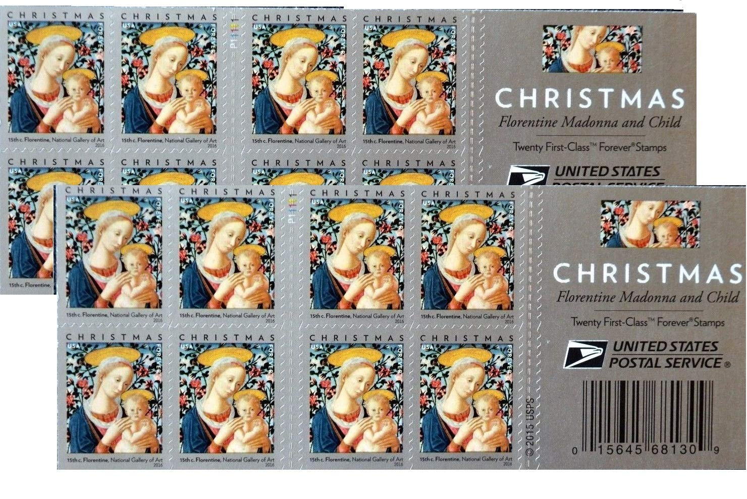 Florentine Madonna and Child USPS Forever First Class Postage Stamp U.S. Holiday Christmas Sheets (20 Stamps) (Booklet of 20 stamps)