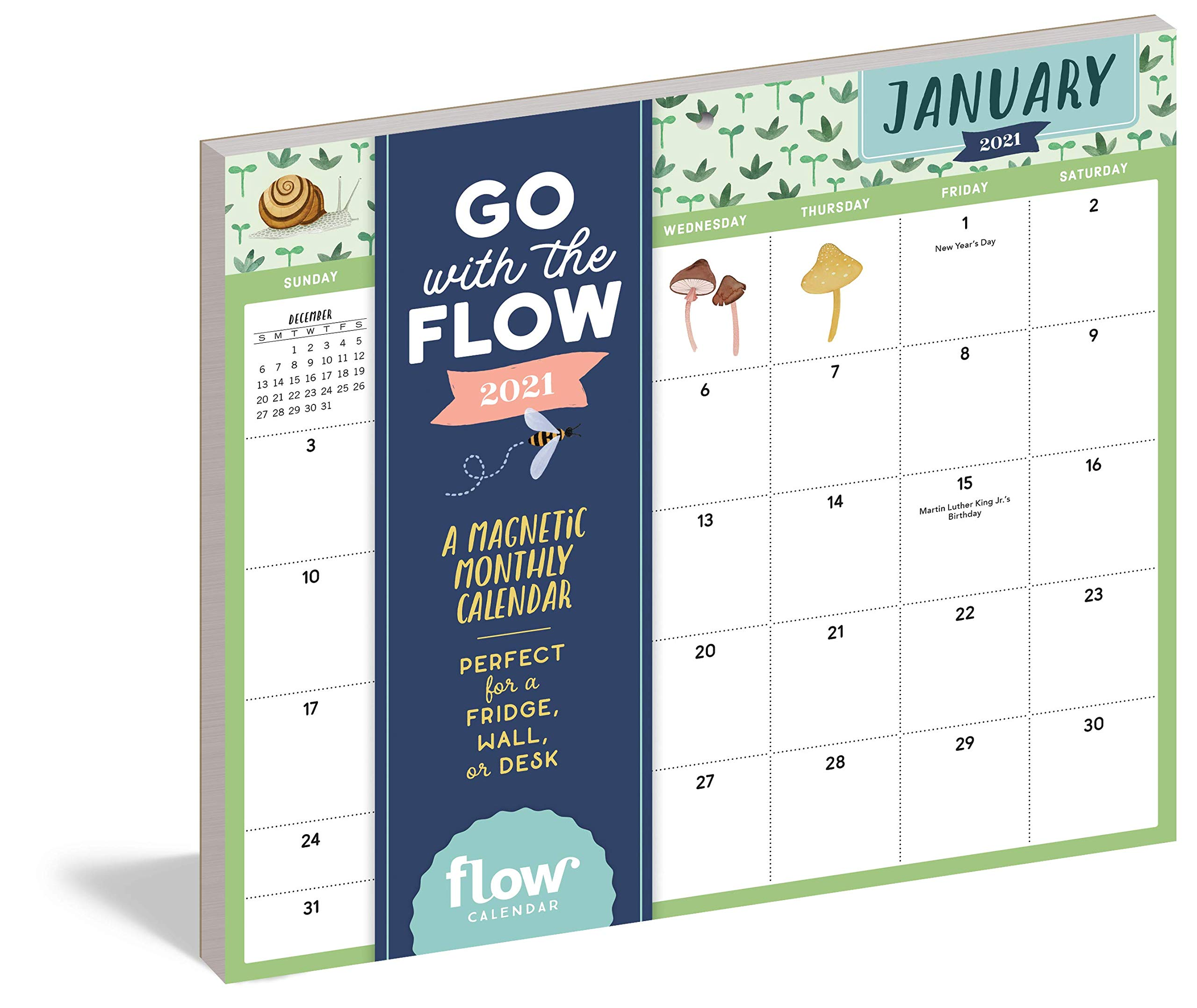 Calendar Magnets 2021 Go with the Flow: A Magnetic Monthly Calendar 2021: Editors of