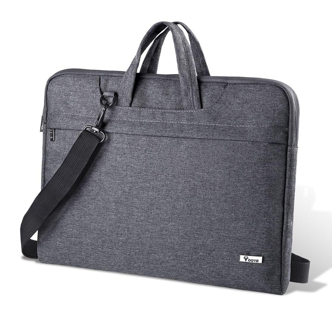 Voova Laptop Bag 17 inch Water-resistant Laptop Case with Multiple Compartment Soft Foam Laptop Sleeve Shoulder Bag Computer Case Briefcase Compatible with Chromebook, Notebook, Ultrabook, MacBook (Grey) NB-SLV-Strap-GR-17