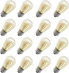 11 Watt Outdoor Light Bulbs, Rolay S14 Warm Replacement Bulbs for Outdoor Patio String Lights with E26 Base, Pack of 16 (Clear)