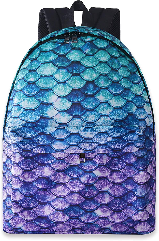 uideazone 15.7 inch Mermaid Fish Scale Printed School Backpack Rucksack for Girls Kids Cute Bookbags Shoulder Bags Casual Laptop Backpack