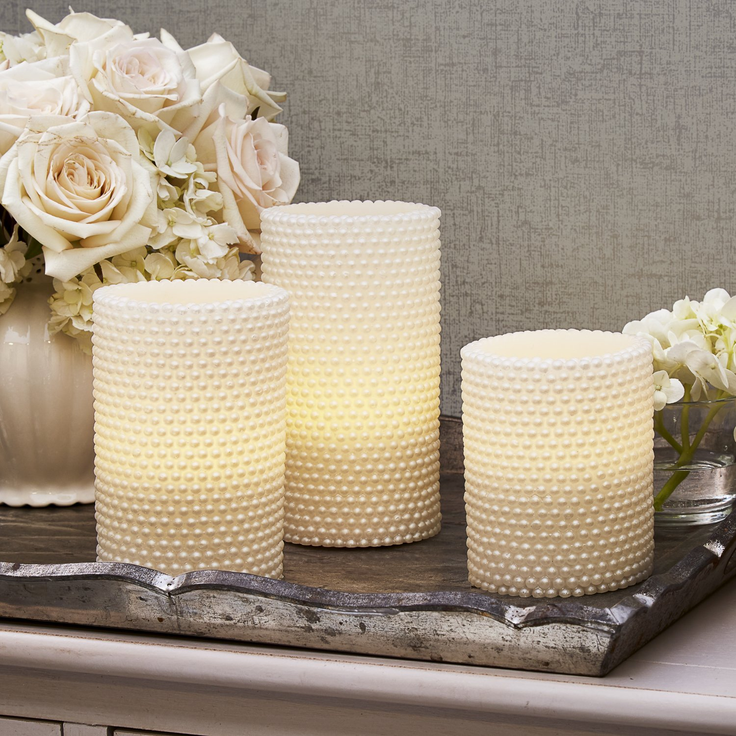 Decorative Textured Flameless Candles Set with Remote, Flickering Pearl Candle by LampLust, 4/8 Hr Timer, Real Wax, White LED Glow, Indoor use - Set of 3