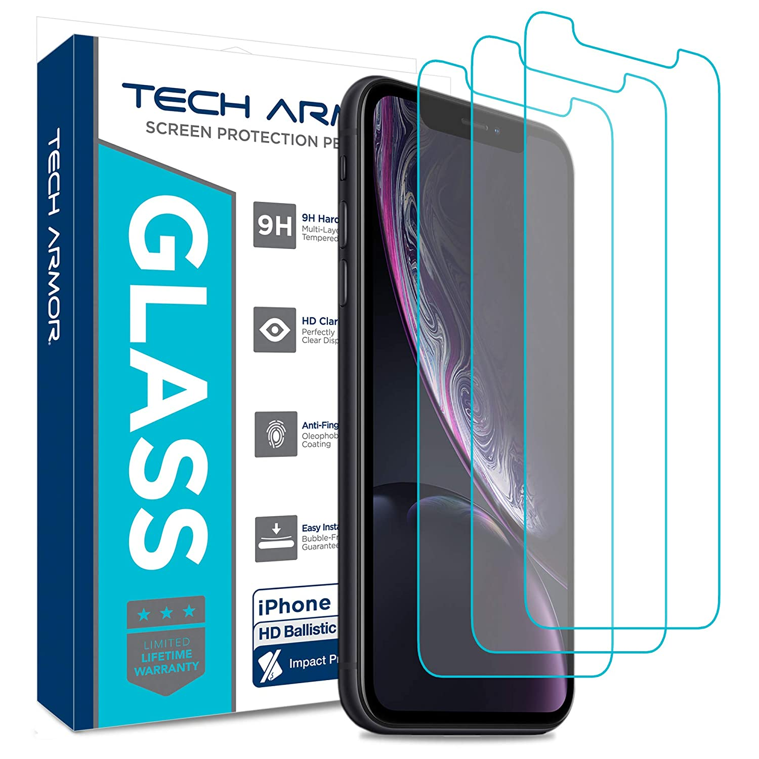 Tech Armor Apple iPhone Xr Ballistic Glass Screen Protector [3-Pack] Case-Friendly Tempered Glass, Haptic Touch Accurate Designed 2018 Apple iPhone Xr
