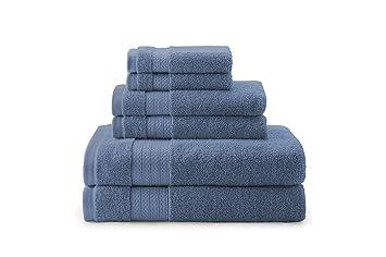 AmazonBasics - Toallas de altas prestaciones, 2 de baño, 2 de mano y 2 de lavabo, Azul crepúsculo: Amazon.es: Hogar