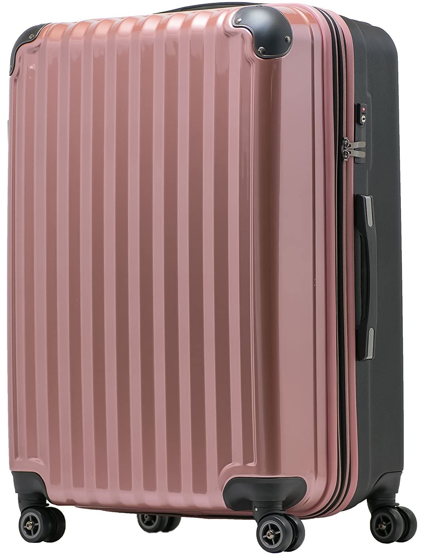 【JP Design】スーツケース 超軽量 tsaロック 容量アップ拡張機能付 ダブルキャスター8輪(機内持込~LL 全4サイズ)ハードキャリー ファスナータイプ キャリーバッグ キャリーケース B076DF8JW8 LM|ローズゴールド/BK ローズゴールド/BK LM