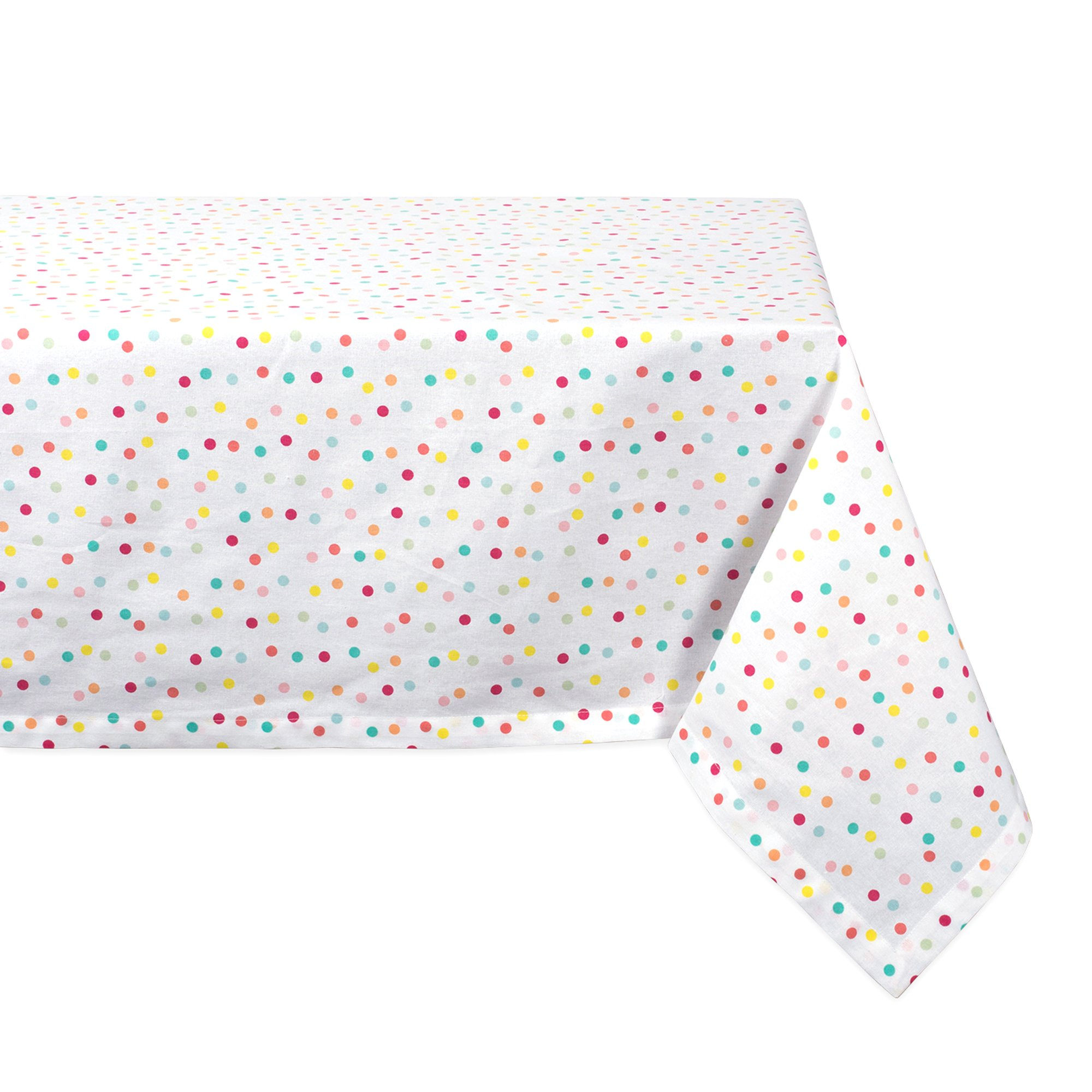 DII Rectangular Cotton Tablecloth for Spring Wedding, Dinner Parties, Kid's Party and Everyday Use - 60x120'', Multi Polka Dots