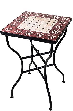 Original Marokkanischer Mosaiktisch Bistrotisch 50x50cm Gross Eckig Klappbar Eckiger Kleiner Mosaik Gartentisch Mediterran Als Klapptisch Fur