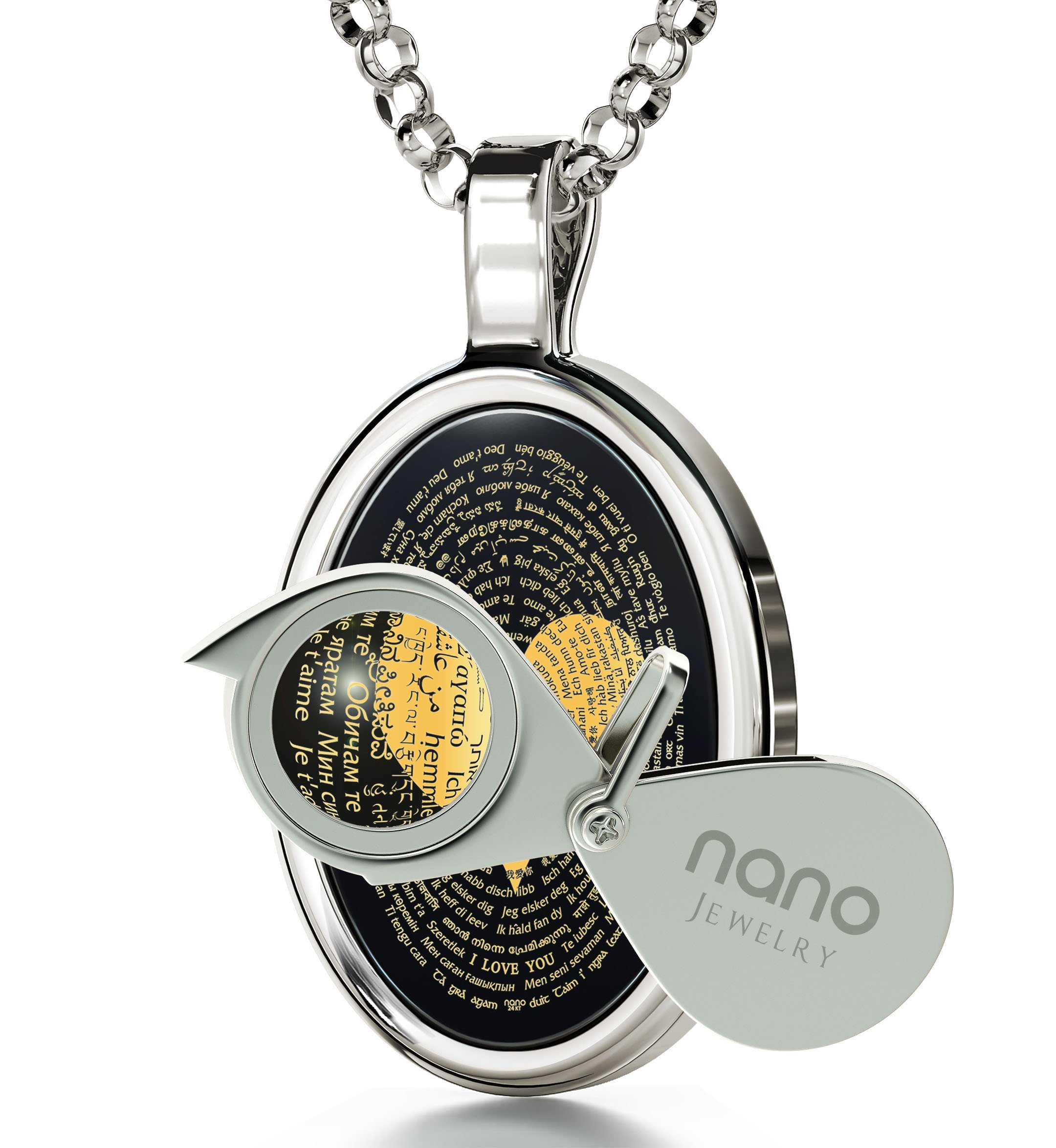 925 Sterling Silver Love Necklace 24k Gold Inscribed with I Love You in 120 Languages Including Braille and Sign Language on Oval Black Onyx Gemstone Anniversary Pendant, 18'' Chain by Nano Jewelry