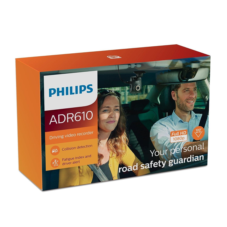 Philips ADR61BLX1 Dashcam Full-HD 1080 p Detector de Colisión Automática, Alerta Conductor, Índice Fatiga: Amazon.es: Coche y moto