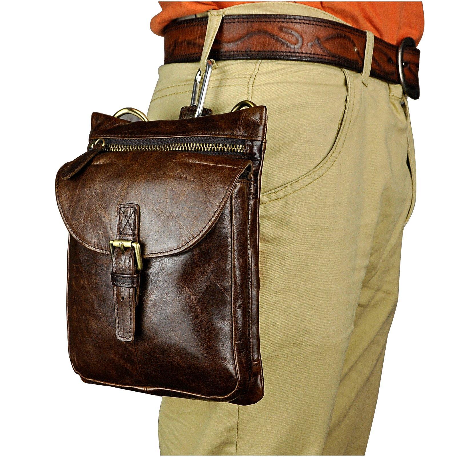 Le'aokuu Mens Genuine Leather Coffee Fanny Small Messenger Shoulder Satchel Waist Bag Pack (The 6552 coffee)