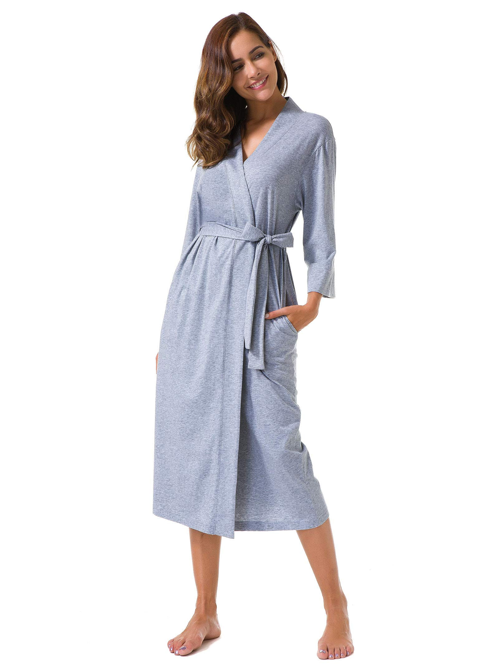 658ccff8b9e1b SIORO Women s Kimono Robes Cotton Lightweight Robe Long Knit Bathrobe Soft  Sleepwear V-Neck Ladies