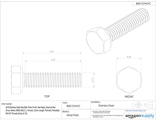 Thread Size M5-0.8 Vented Socket Head Screw 18-8 Stainless Steel