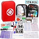 174 Pcs First Aid Kit Survival Kit, Monoki Emergency Survival Kit Medical Supplies Trauma Bag Safety First Aid Kit for Home, Office, School, Car, Boat, Travel, Camping, Hiking, Sports, Adventures