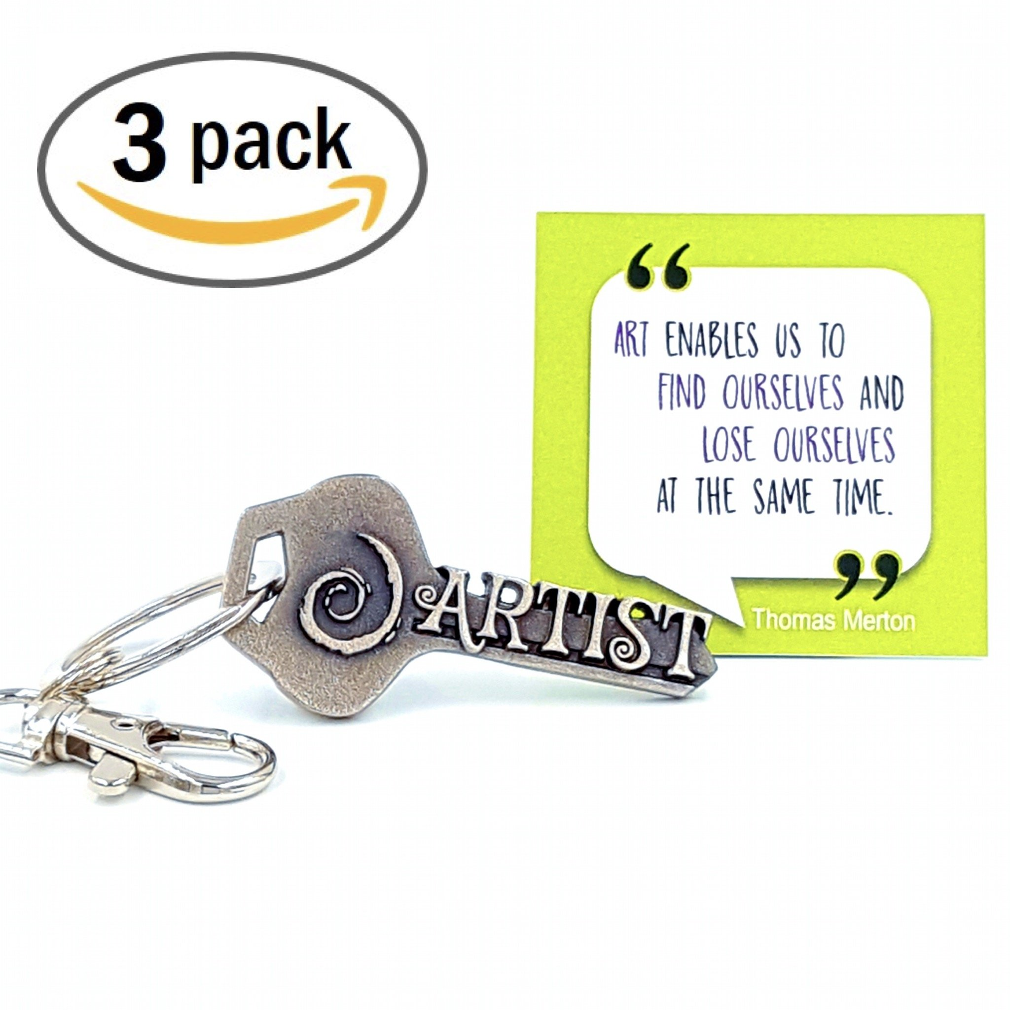 3-PACK key2Bme ARTIST key - swirl art keychain & inspirational quote - the cute cool fun unique artsy small art gift under 10 for giving painters sketch kids teens friends girls women art teacher