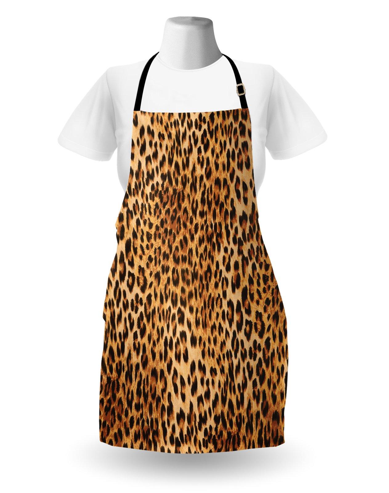 Lunarable Animal Print Apron, Wild Animal Leopard Skin Pattern Wildlife Nature Inspired Modern Illustration, Unisex Kitchen Bib Apron with Adjustable Neck for Cooking Baking Gardening, Sand Brown by Lunarable (Image #2)