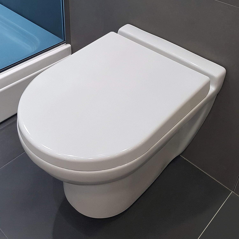 amovible facile /à nettoyer//facile /à utiliser plastique thermodurcissable de haute qualit/é avec m/écanisme de fermeture en douceur AQUA BAGNO Si/ège de WC ZERO blanc D-FORM universel