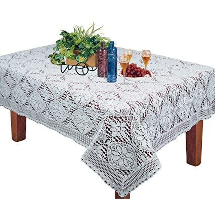 Amazoncom Creative Linens Crochet Lace Tablecloth 60x120