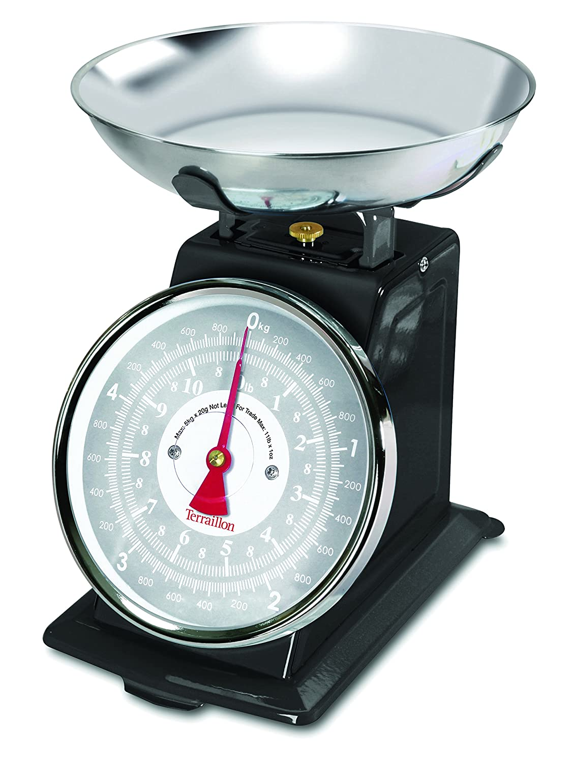 Terraillon Kitchen Scales, Manual Tare, Large Dual Dial, Stainless ...