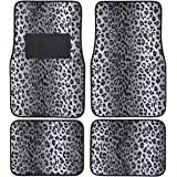 BDK Carpeted 4 Piece Mat Leopard Animal Print Auto Car Vehicle Universal Fit (Gray)