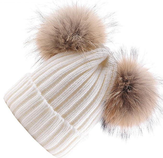 BrillaBenny Cappello PON PON Doppio Bianco con Pelliccia Beige Naturale  (Ragazza d2dcfde9cdb6