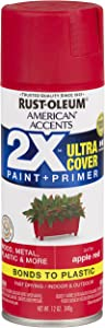 Rust-Oleum 327938-6 PK American Accents Spray Paint, Satin Apple Red