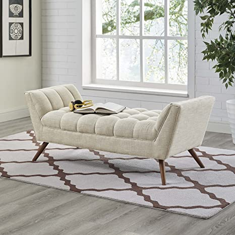 Modway EEI-1789-BEI Response Upholstered Fabric, Medium Bench, Beige