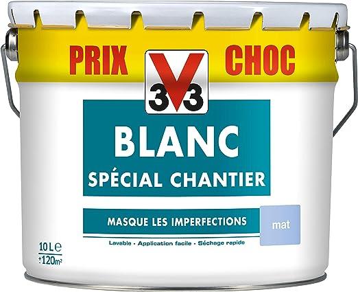 V33 104282 Peinture Blanc Spécial Chantier Mat 10l