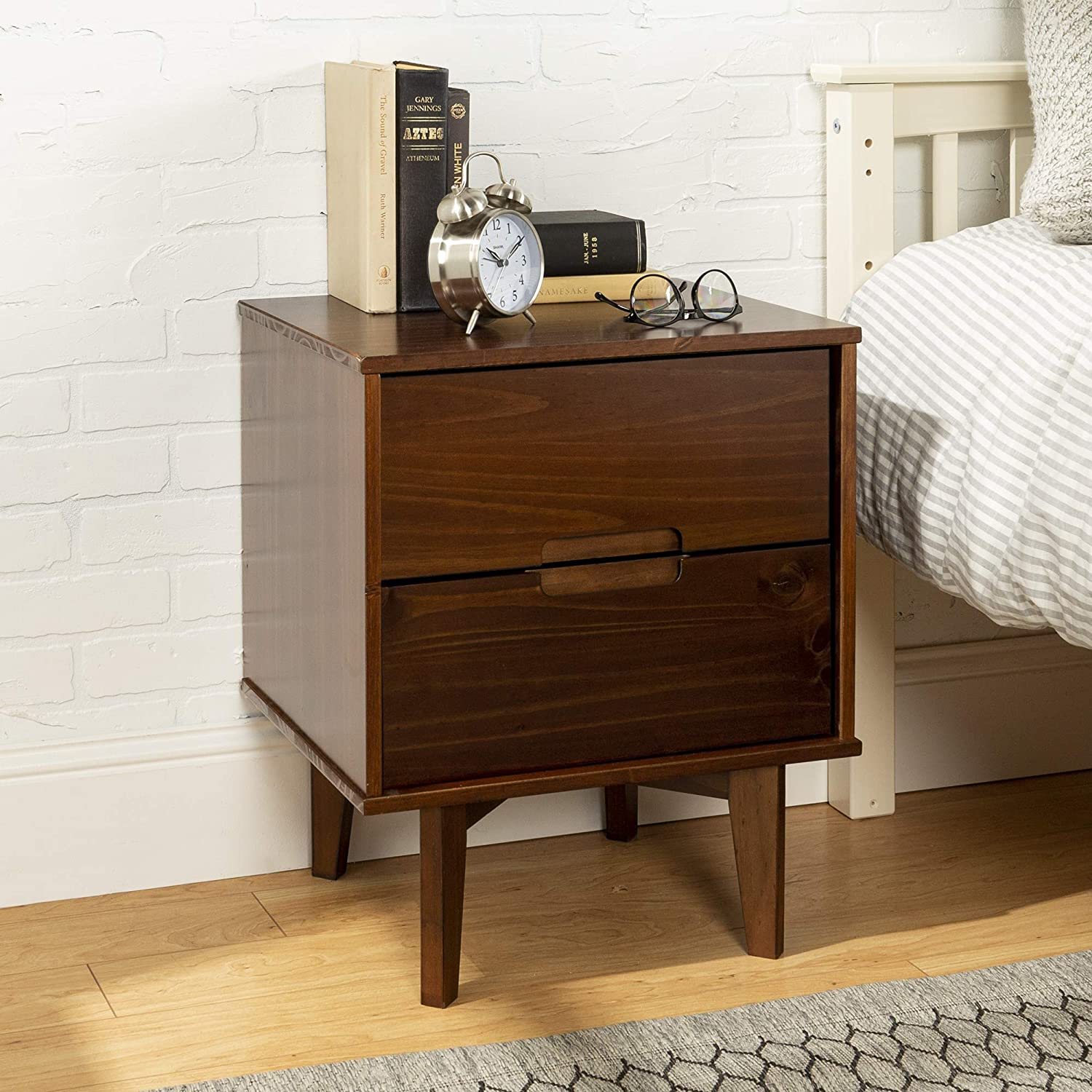 WE Furniture Wood Tall Nightstand for Bedroom Living Room, Walnut, 5 Drawer  Accent Side End Table