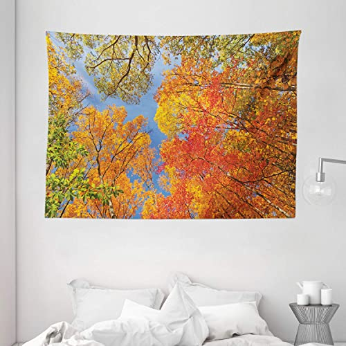 Ambesonne Leaves Tapestry, Falls Colors National Country Park Nature Observation Base Perspective Photo, Wide Wall Hanging for Bedroom Living Room Dorm, 80 X 60 , Orange Green