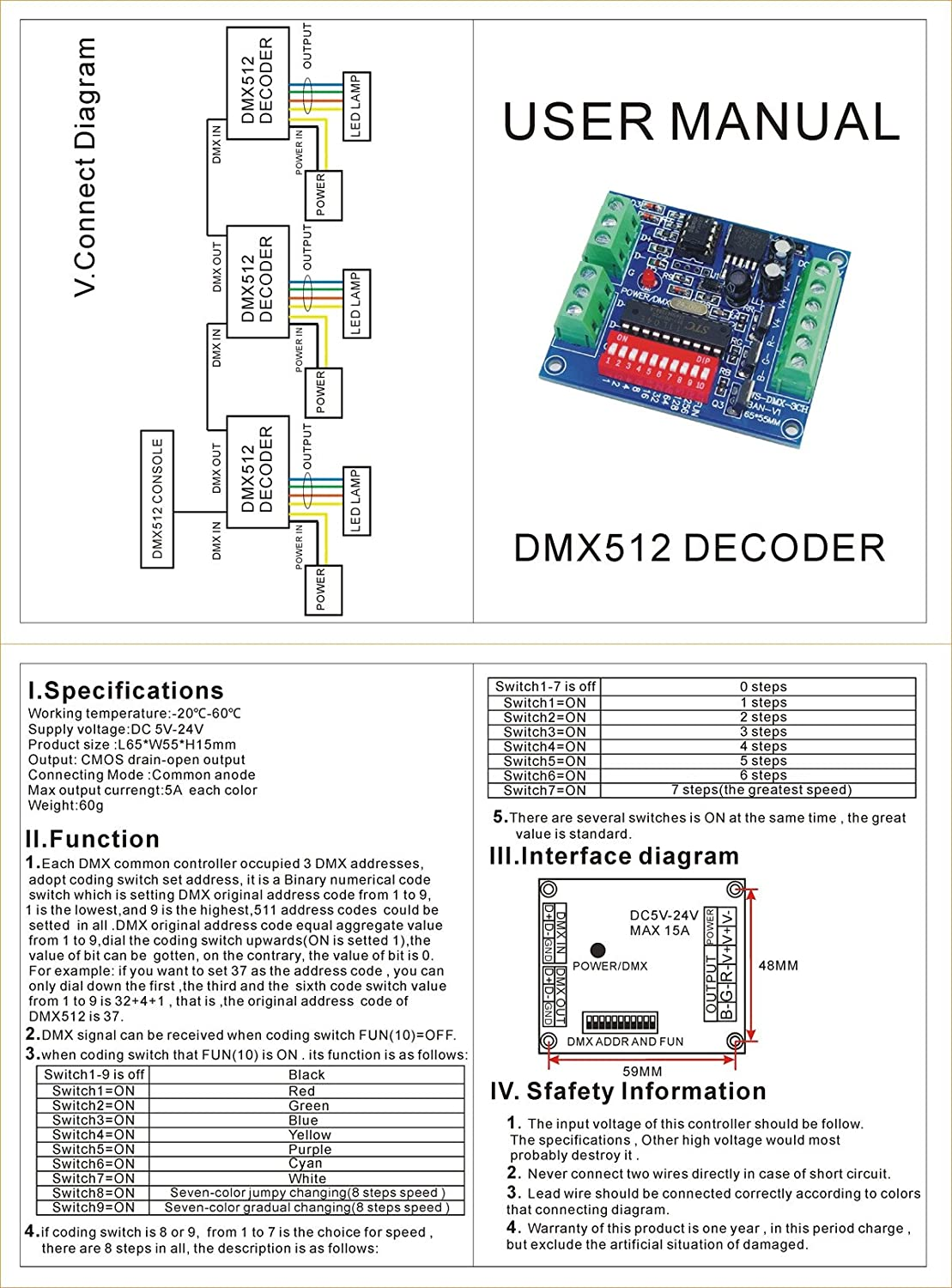 3 Channel Dmx512 Controller Driver Dmx Decoder 15a For Flickering Led Amplifier Circuit Rgb Musical Instruments