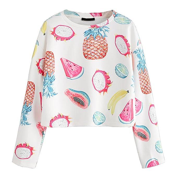 Camiseta de fruta, Longra ❤ Mujeres Camiseta Con Manga Larga con estampado de frutas Camisa Blusa T-shirt Blouses Pullover Sudadera: Amazon.es: Ropa y ...