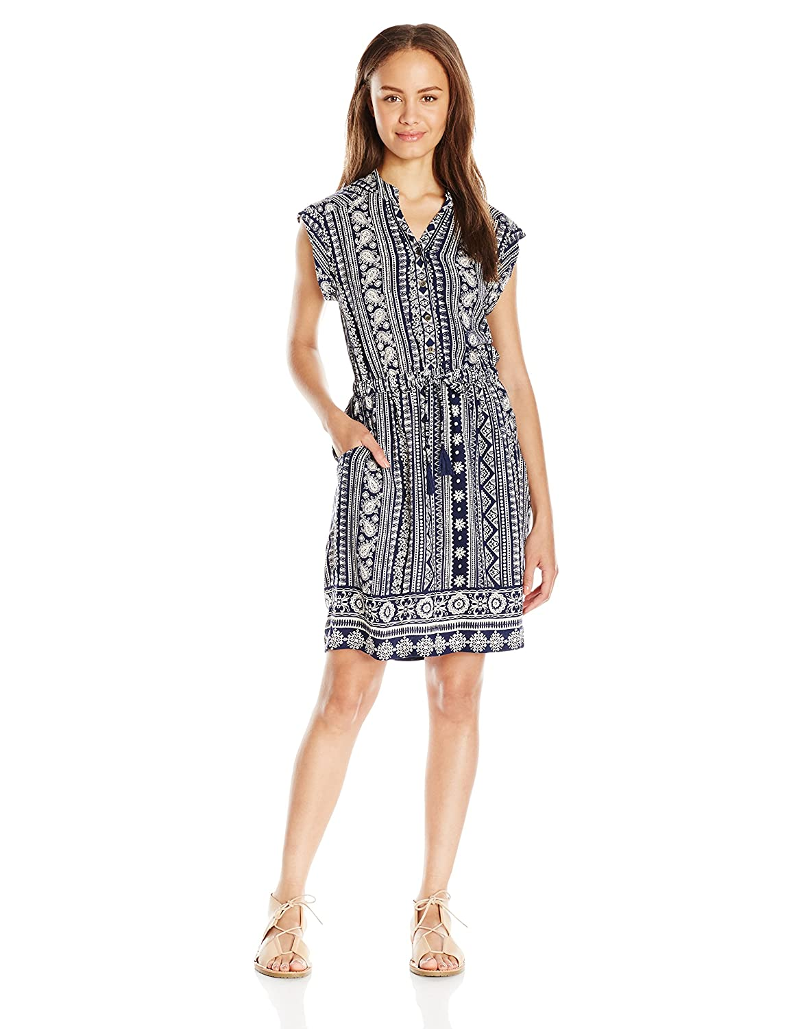 Angie Women's Navy Printed Shirt Dress Large Angie Juniors F4171-FK76