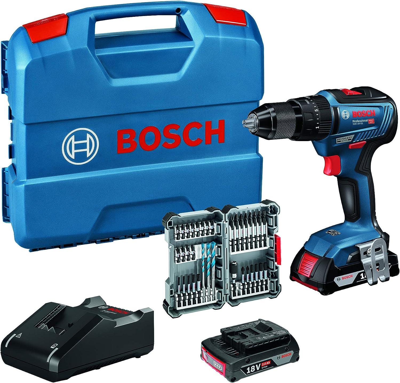 Bosch Professional 18v System Akku Schlagbohrschrauber Gsb 18v 55 Max Drehmoment 55 Nm Inkl 2x2 0 Ah Akku Ladegerät 35tlg Impact Zubehör Set In L Case Amazon Edition Baumarkt