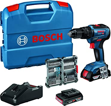 Bosch Professional GSB 18V-55 - Taladro percutor a batería (18V, 55 Nm, 2 baterías x 2.0 Ah, se...