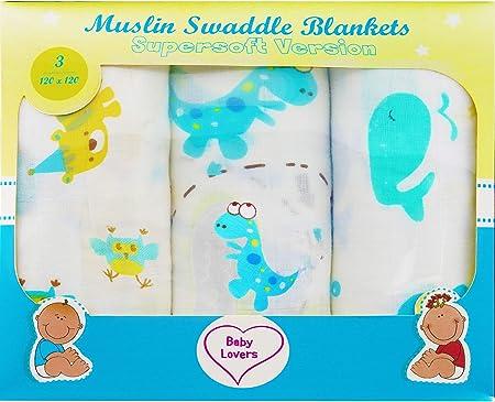 Mantitas Para Bebés Baby Lovers - Algodón 120x120 - Mantas Bebé Recién Nacido - Gasas Para Bebés - Mantas Cuna - Muselinas Bebé - Gran Idea Para Un Regalo