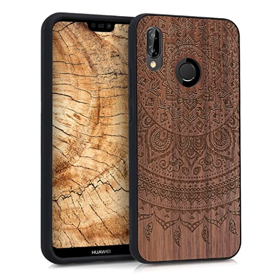 kwmobile Wooden Protection case for Huawei P20 Lite - Hard case with TPU Bumper Indian Sun Walnut