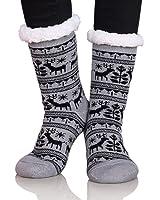 Dosoni Women Girls Winter Fleece Lining Snowflake Deer Christmas Gift Slipper Socks Collection