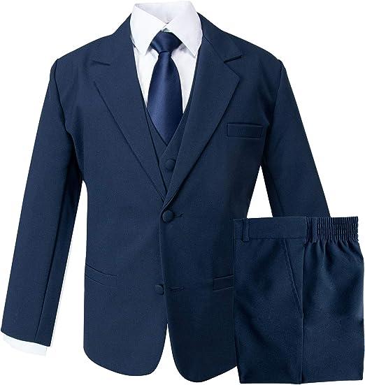 5 Piece Black Formal Suit Confirmation Communion 2-18 Boys Wedding