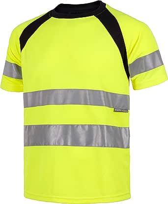 Work Team Camiseta Manga Corta Combinada con Alta Visibilidad. Cintas Reflectantes. EN ISO 20471:2013. Hombre