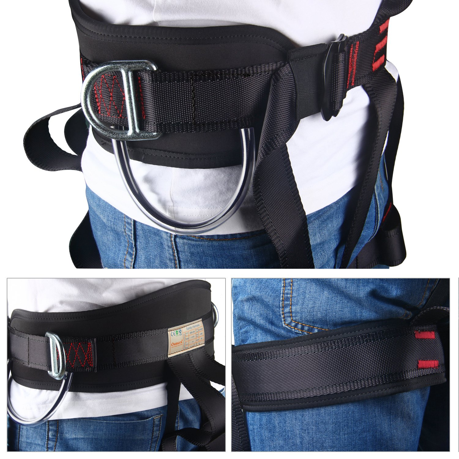 Thicken Wider Climbing Harness Oumers Protect Waist Version Waistbelt Wider Safe Seat Belts For Mountaineering Fire Rescue Higher Level Caving Rock Climbing Rappelling Equip Women Man Child Half Body