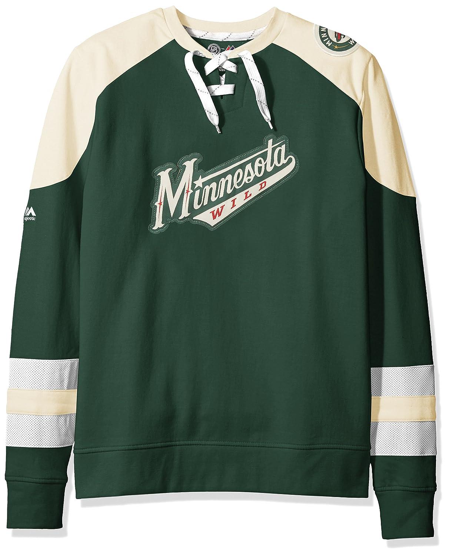 NHL Sweater MINNESOTA WILD Majestic Centre Pullover Crewneck Lace Up Sweatshirt Weitere Wintersportarten