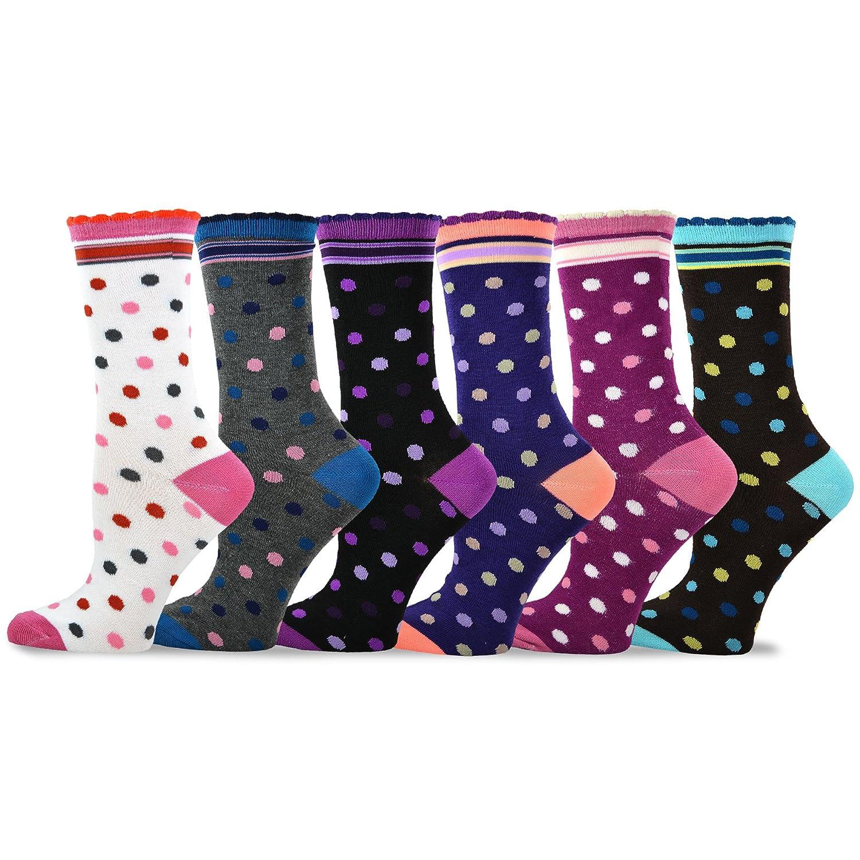 TeeHee Womens Ladies Value 6-Pack Crew Socks