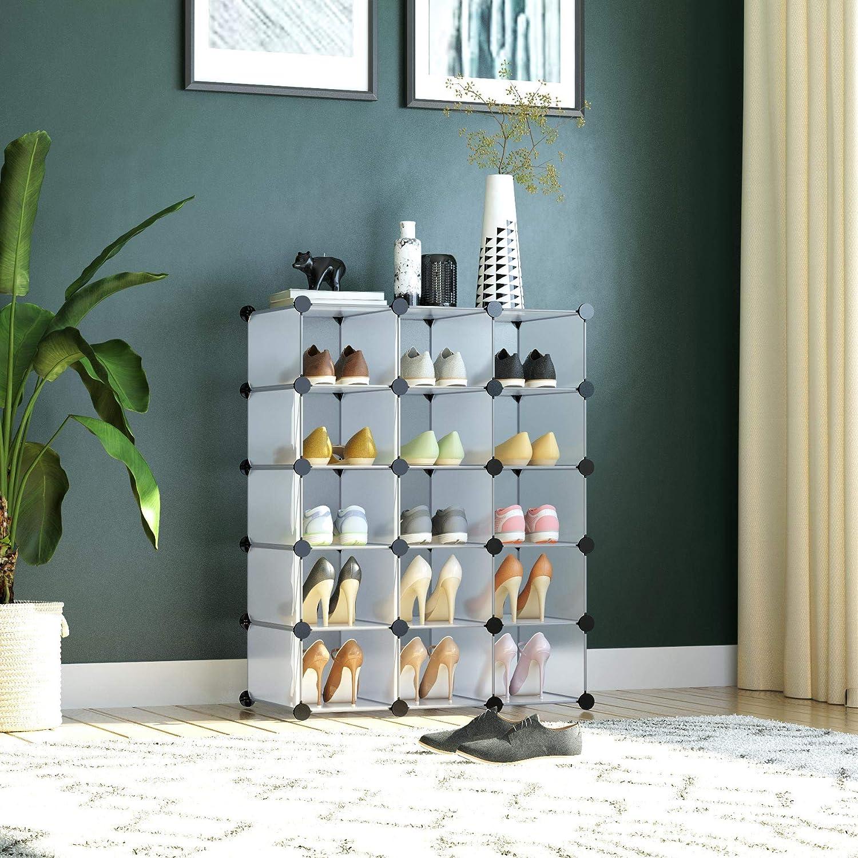 26.6 L /× 14.2 W /× 34.4 H Black Space Saving Expandable /& Adjustable Shoe Shelf C/&AHOME 5-Tier Shoe Rack 15 Pairs Plastic Shoe Storage Organizer Ideal for Bedroom Living Room Entryway Hallway